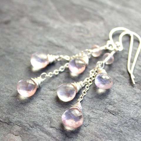 Rose Quartz Earrings, Long Dangle Soft Pink Gemstone Earrings, Sterling Silver