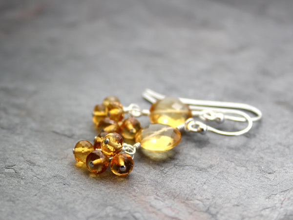 Cluster Citrine Earrings Sterling Silver Faceted Gemstone Coins and Beads