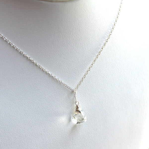Trilliant Pyramid Clear Crystal Quartz Necklace Briolette Sterling Silver by Aerides