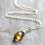 Honey Quartz Necklace Sterling Silver Warm Gemstone Pointed Briolette Pendant, by Aerides