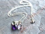 Amethyst Necklace Purple Green Pink Sterling Silver Pendants, by Aerides Designs