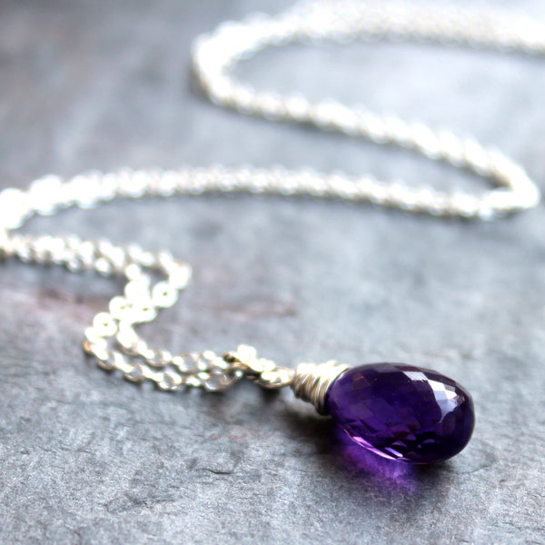 Amethyst Necklace Sterling Silver Purple Briolette Wire Wrapped by Aerides