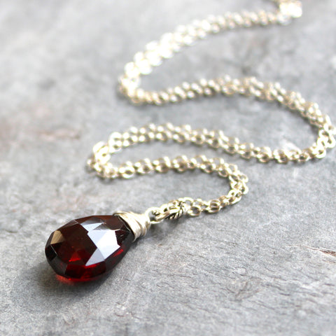 Garnet Necklace Sterling Silver Wire Wrapped Pendant January Birthstone Dark Red 18 Inch