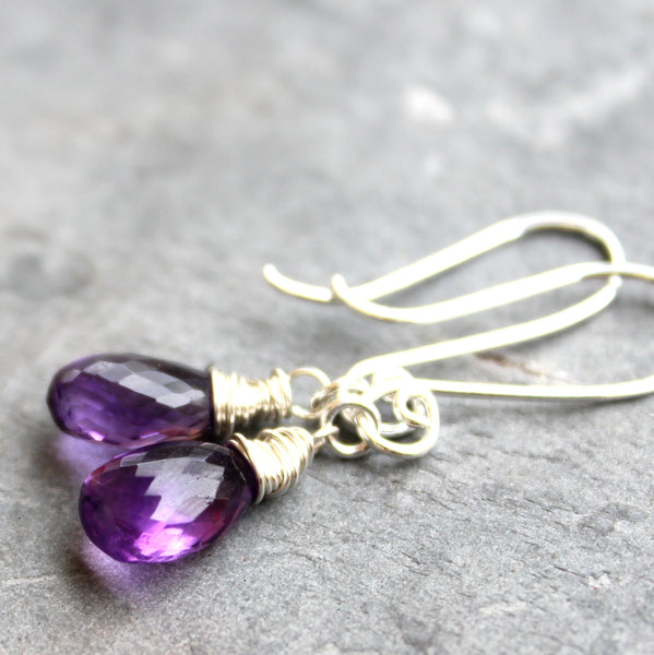 Amethyst Earrings Sterling Silver Petite Purple Gemstone Dangles, by Aerides