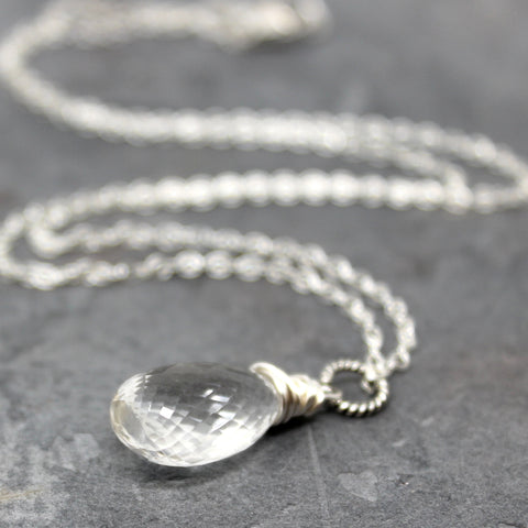 Ice Quartz Pendant Necklace Clear Crystal Quartz Sterling Silver by Aerides