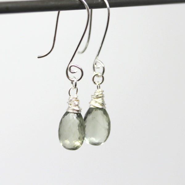 Green Amethyst Earrings Teardrop Gemstones, Prasiolite, Sterling Silver, by Aerides