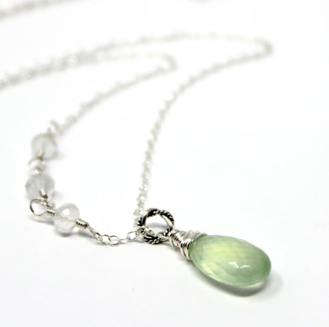 Mint Green Gemstone Necklace Prehnite Rainbow Moonstone, Sterling Silver, Handmade