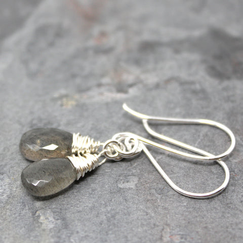 Labradorite Earrings Petite Gray Teardrop Gemstone Dangles, Sterling Silver, by Aerides