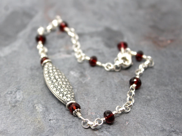Garnet Bracelet Sterling Silver Bali Beads Red Gemstones