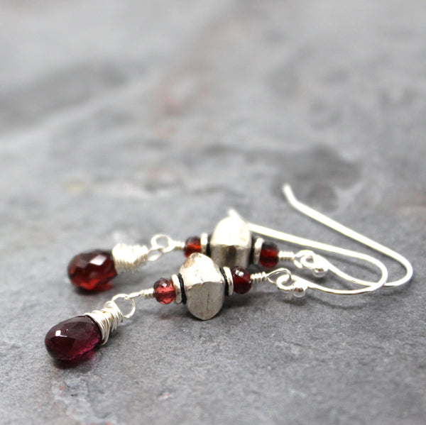 Sterling Silver Garnet Earrings Red Gemstones Dangles, Handmade by Aerides
