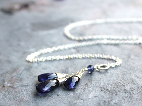 Teardrop Iolite Necklace Sterling Silver Cascade, Water Sapphire Briolettes, Blue Violet