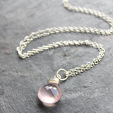 Rose Quartz Necklace, Pendant Pink Drop, Sterling Silver by Aerides Designs
