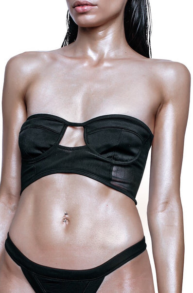 left side black cut out swim bra
