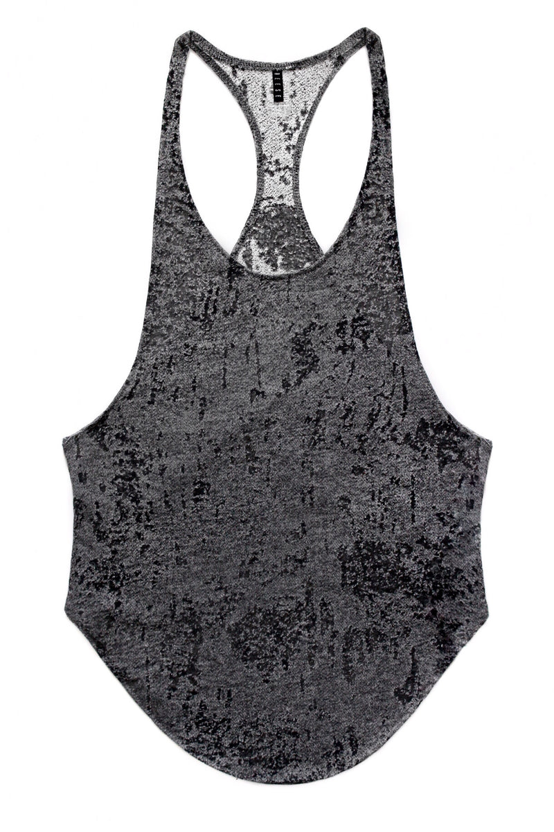 Distressed Black And Grey Tank Top