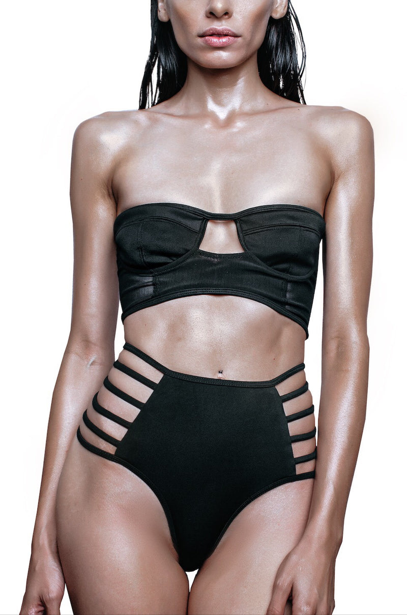 black cut out swim bra