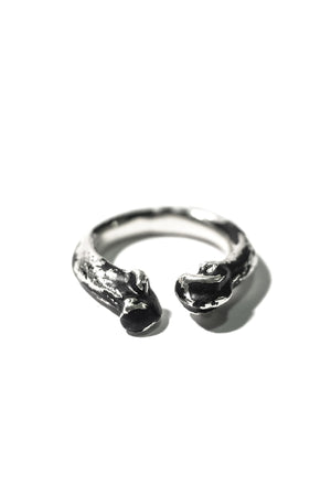 front of handmade sterling silver ring