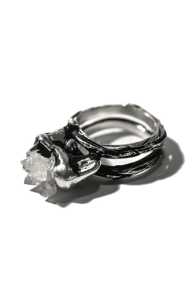 sterling silver tooth ring with quartz