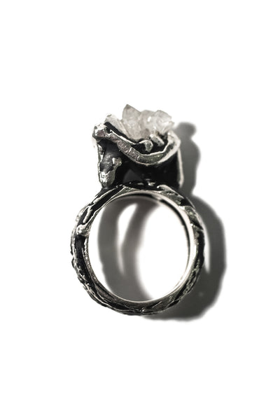 sterling silver tooth ring with crystal quartz