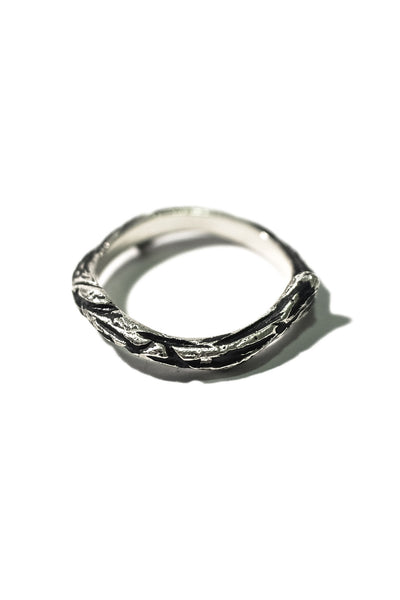 side of handmade sterling silver bone ring