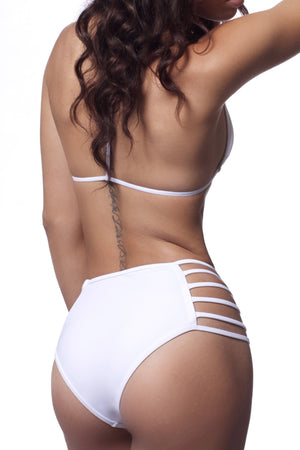 Back Of High Waist White Strappy Swim Bottom