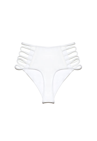High Waist White Strappy Swimwear Bottom