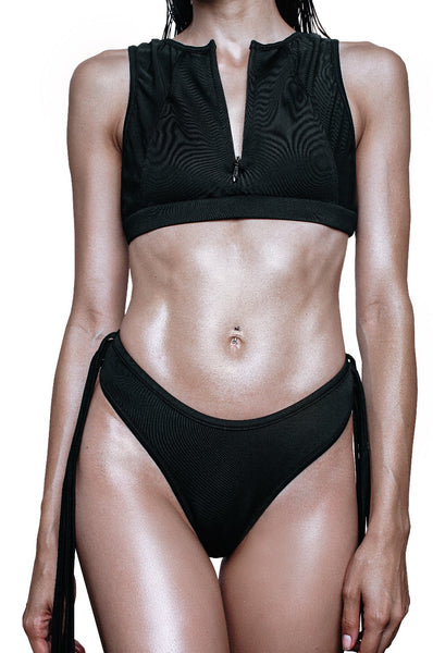black swim crop top with zipper in front