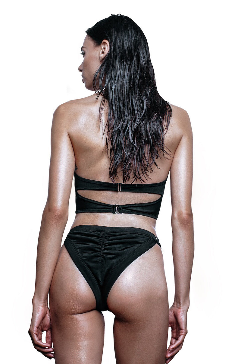 back of black cut out swim bra