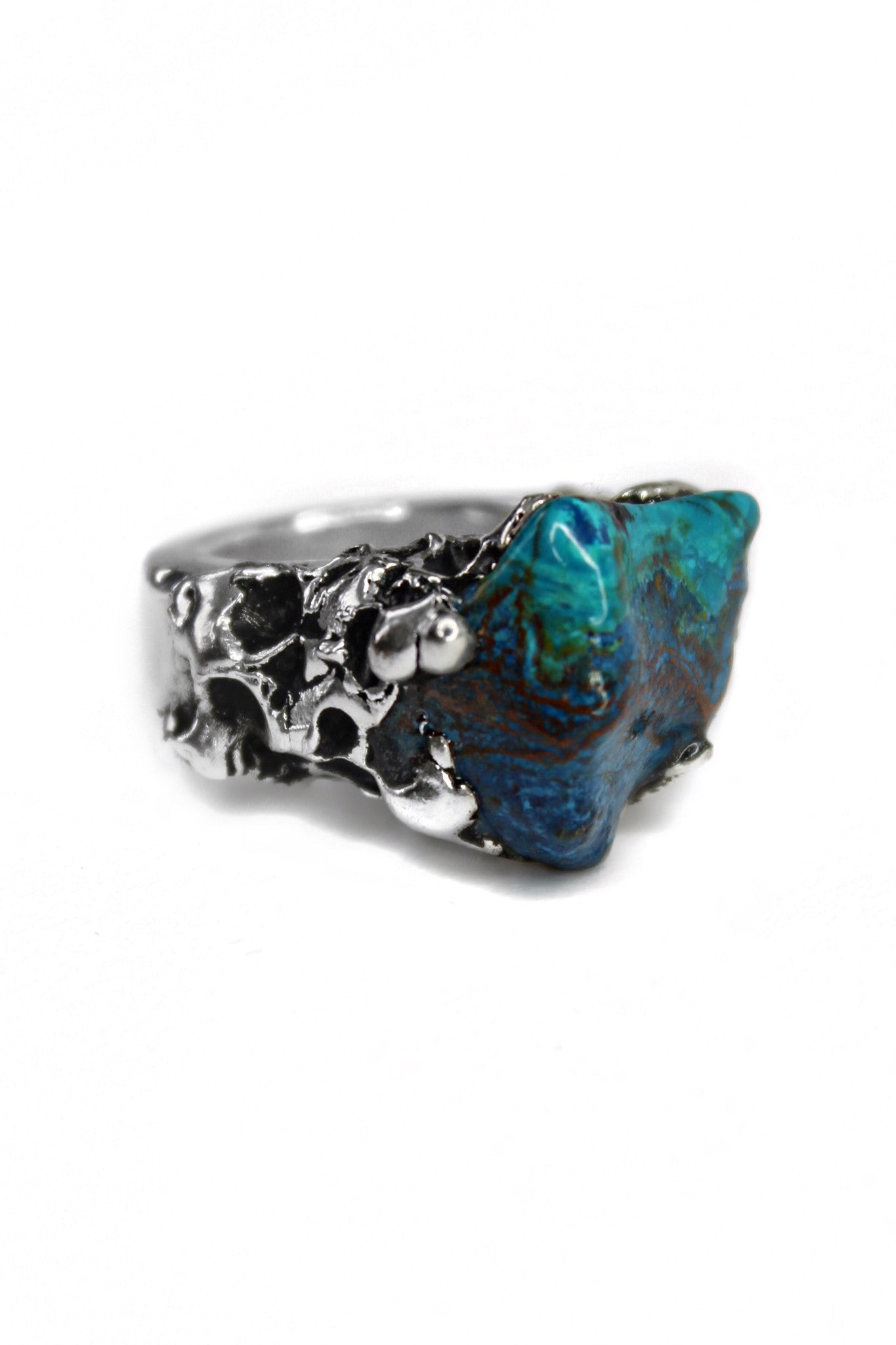 sterling silver ring with malachite stone