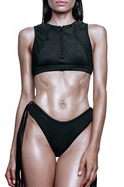 black swim crop top with zipper