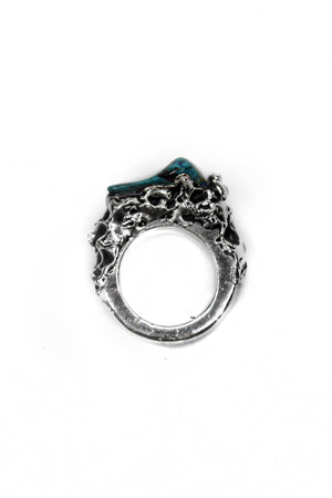 overview of sterling silver ring with malachite