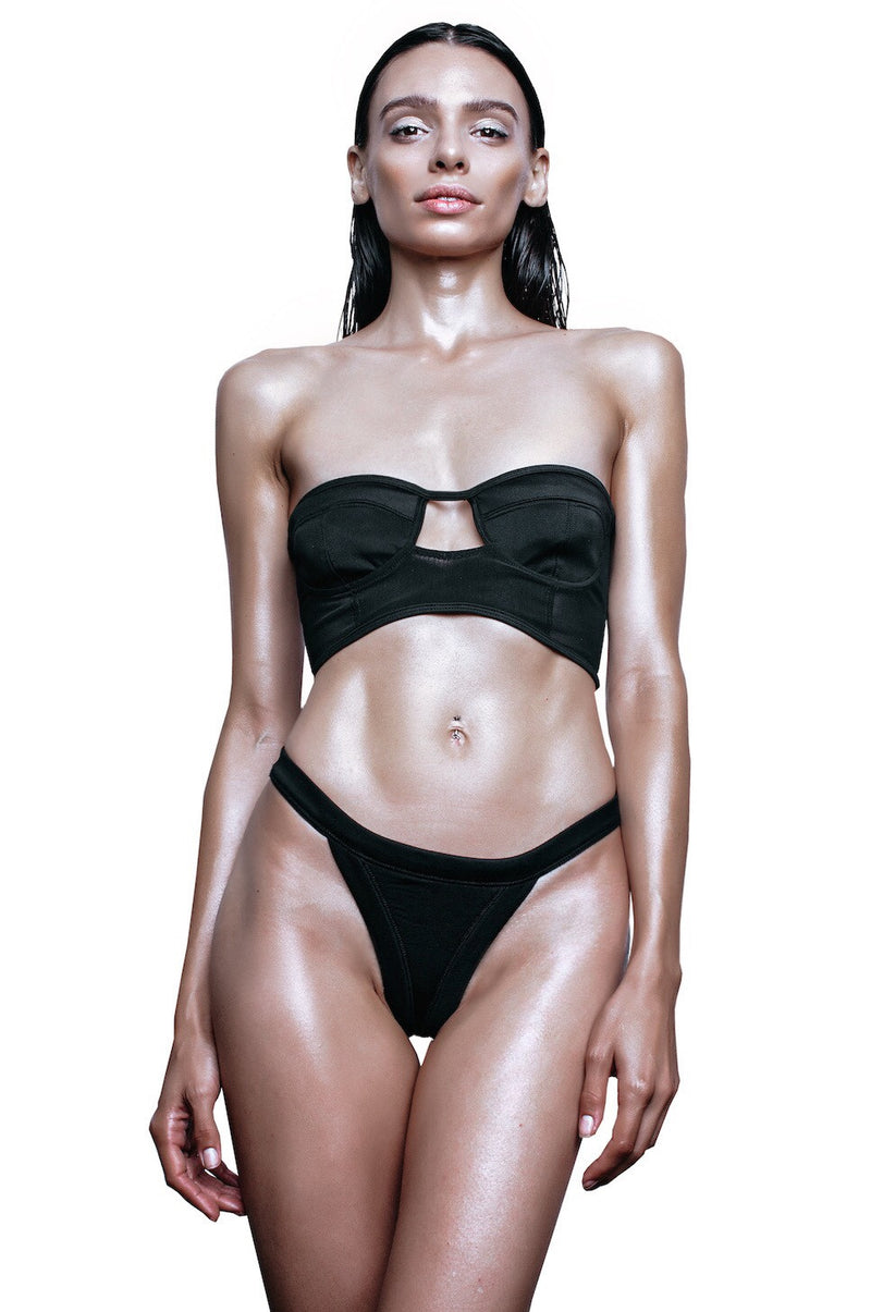 black cut out swimsuit bra