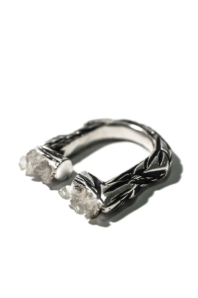 side of handmade sterling silver ring with quartz