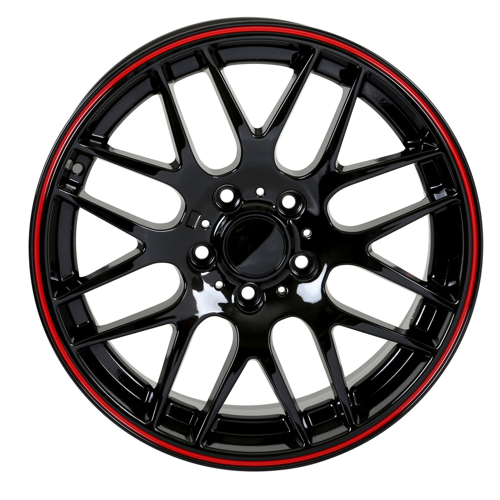 M3 CSL Style Wheels Black Red Lip