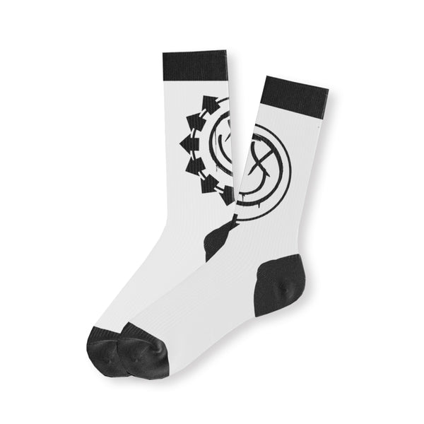 Arrow Smiley White Socks