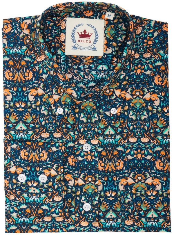 Mens Shirt Blue Orange Floral Button Down Collar - Relco