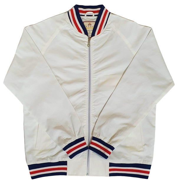 Monkey Jacket White Red Blue Vintage Bomber Design - Real Hoxton