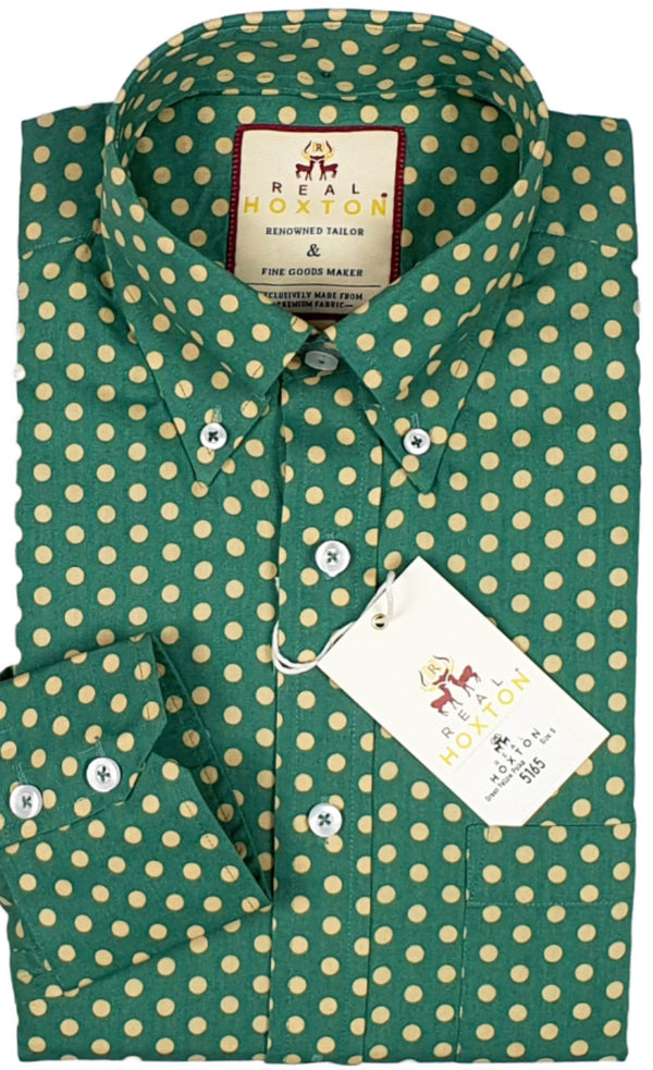 Shirt Polka Polka Dot Men's Green Cream - Real Hoxton