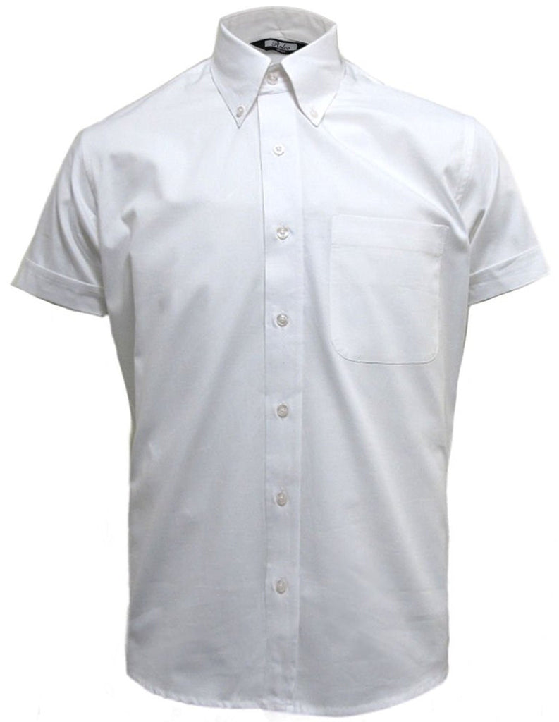 Mens white oxford button down short sleeve shirt relco for Mens white oxford button down shirt