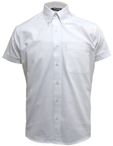 Mens White Oxford Button Down Short Sleeve Shirt - Relco