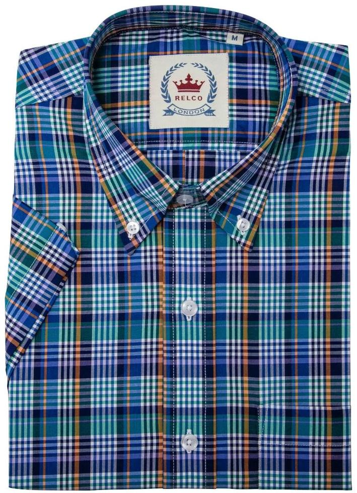 Shirt Check Blue Multi Short Sleeve - Relco
