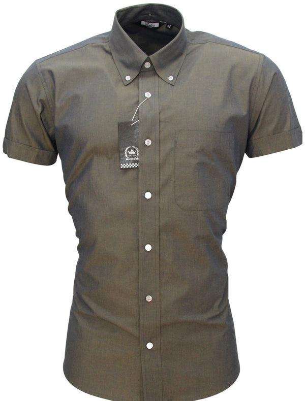 Men's Shirt Gold/Blue TwoTone Short Sleeve - CXLondon.Com