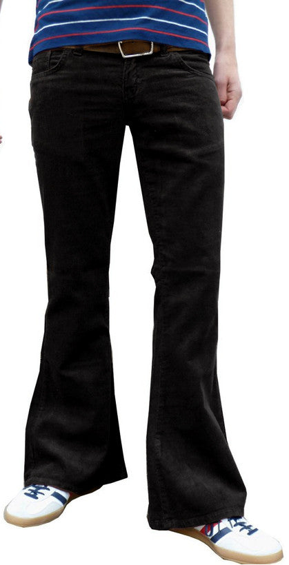 Mens 60s 70s Vintage Black Bell Corduroy Bottom Flares Back Pocket Stitch Detail - CXLondon.Com