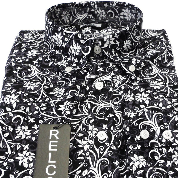 Shirt Floral Men's Black Casual Style - Relco - CXLondon.Com