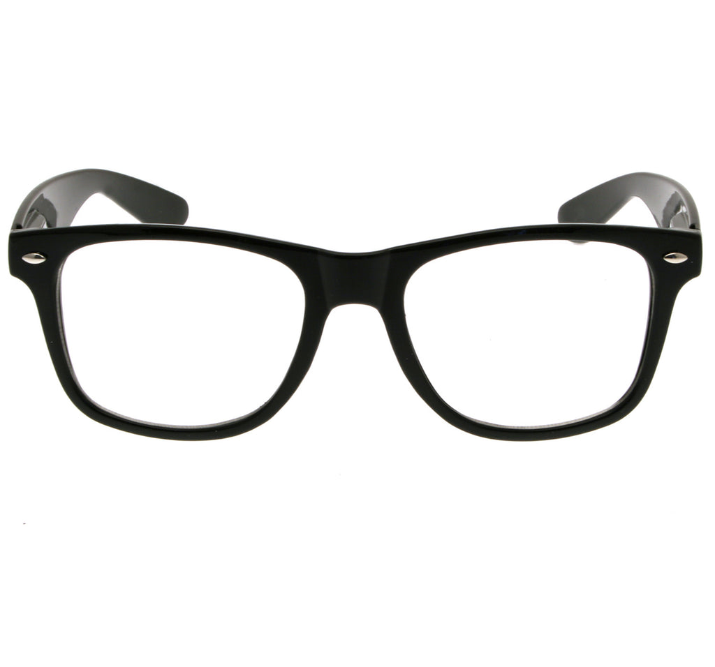 Geek Glasses Clear Lenses Black Frames - CXLondon.Com