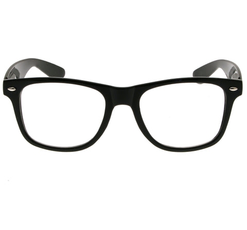 Geek Glasses Clear Lenses Black Frames