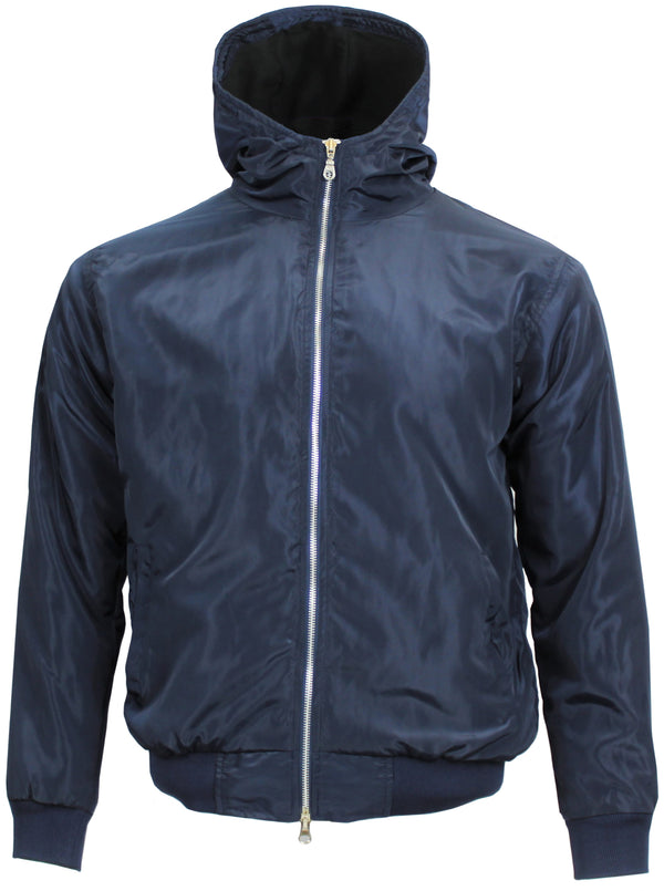 Polar Quilted Splash Proof Hooded Jacket Navy Blue - Real Hoxton