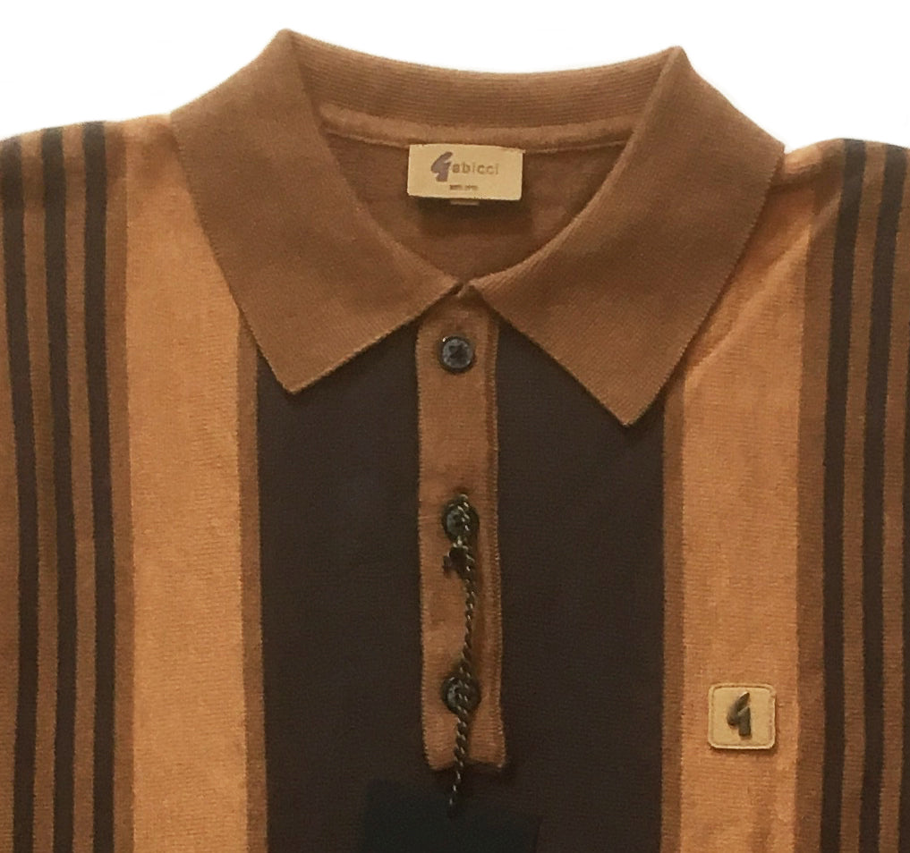 Gabicci Vintage 'Searle' Polo Top Long Sleeve Toffee - CXLondon.Com
