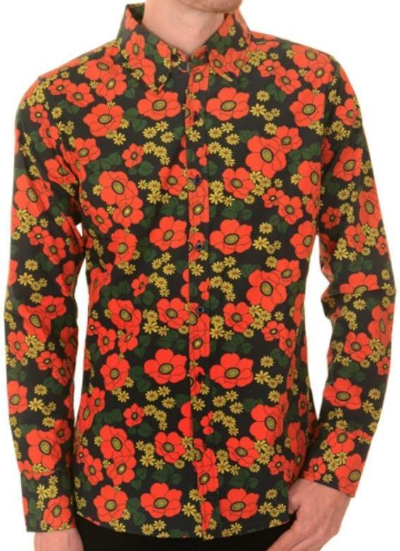 Shirt Mod Psychedelic Floral Poppy by Run & Fly - CXLondon.Com