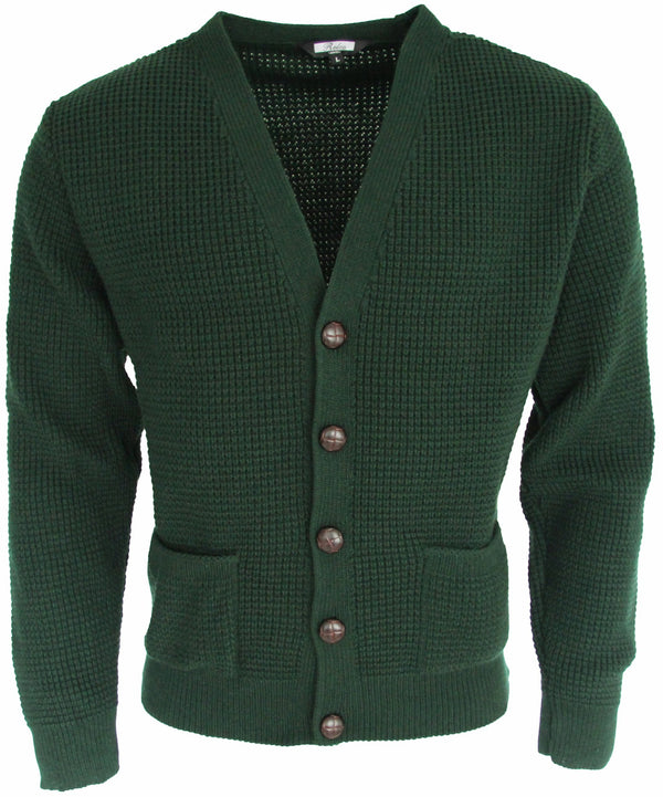 Waffle Cardigan Green - Relco - CXLondon.Com