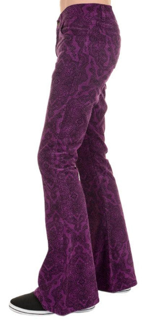 Mens Purple Paisley Hendrix Corduroy Bell Bottom Trousers - CXLondon.Com